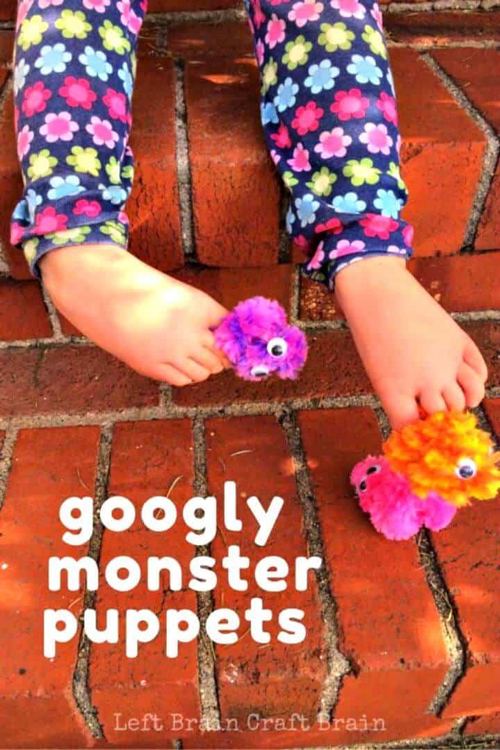 Lindas marionetas de dedo de monstruo Googly DIY para niños pequeños