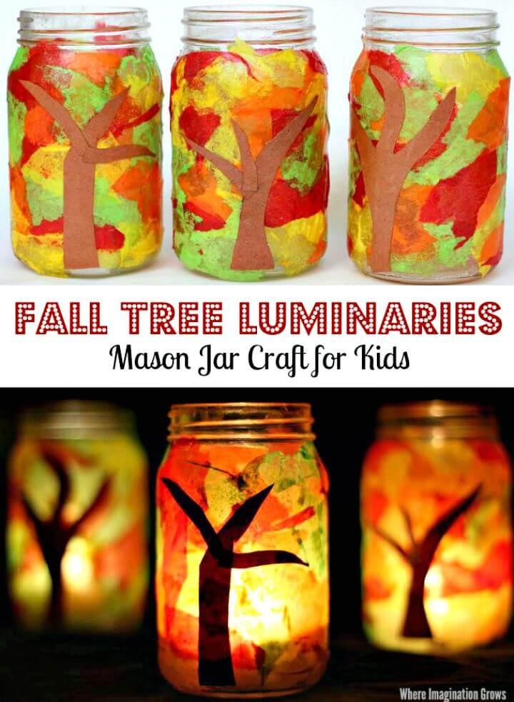 Bonito arte de bricolaje de luminarias de otoño con tarro de masón