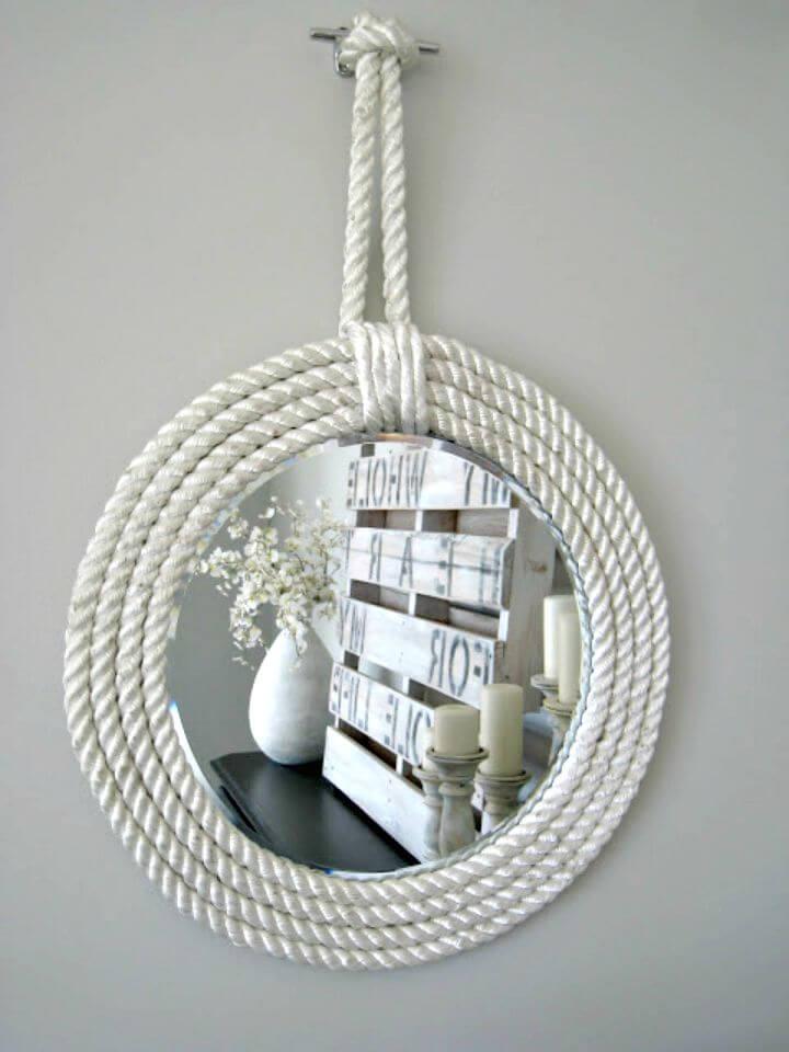 Lindos espejos de cuerda náutica de bricolaje