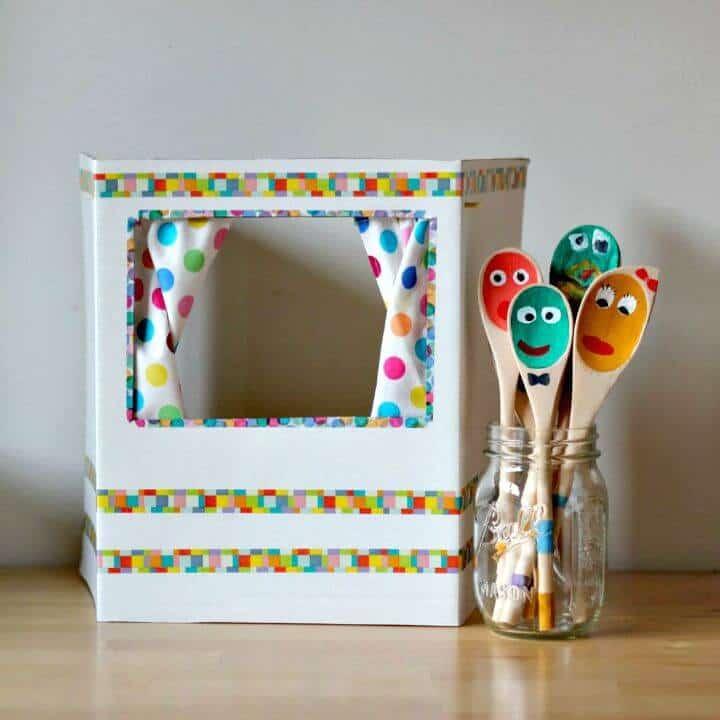 Teatro de marionetas de bricolaje para niños