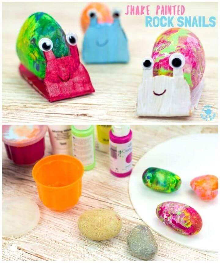 Cute DIY Snail Rock Craft, manualidades de rocas pintadas