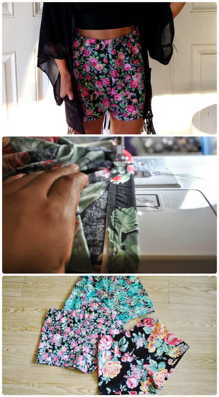 pantalones cortos de cintura alta cosidos en casa