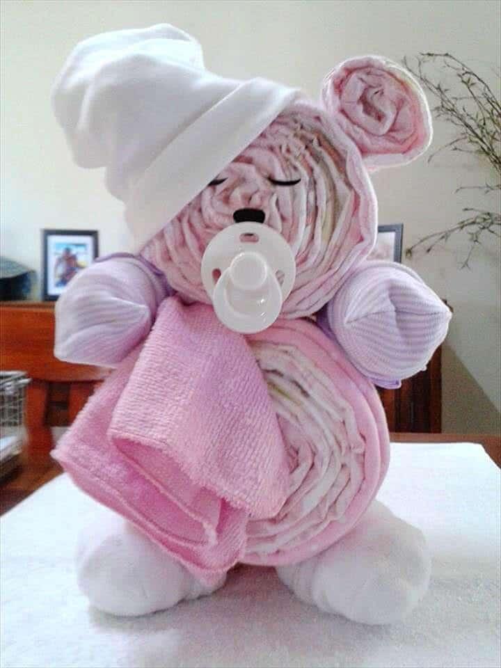 Pastel de pañales Funky Teddy Bear