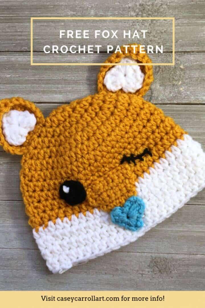 Patrón de sombrero de zorro de ganchillo fácil y fácil de cutesy