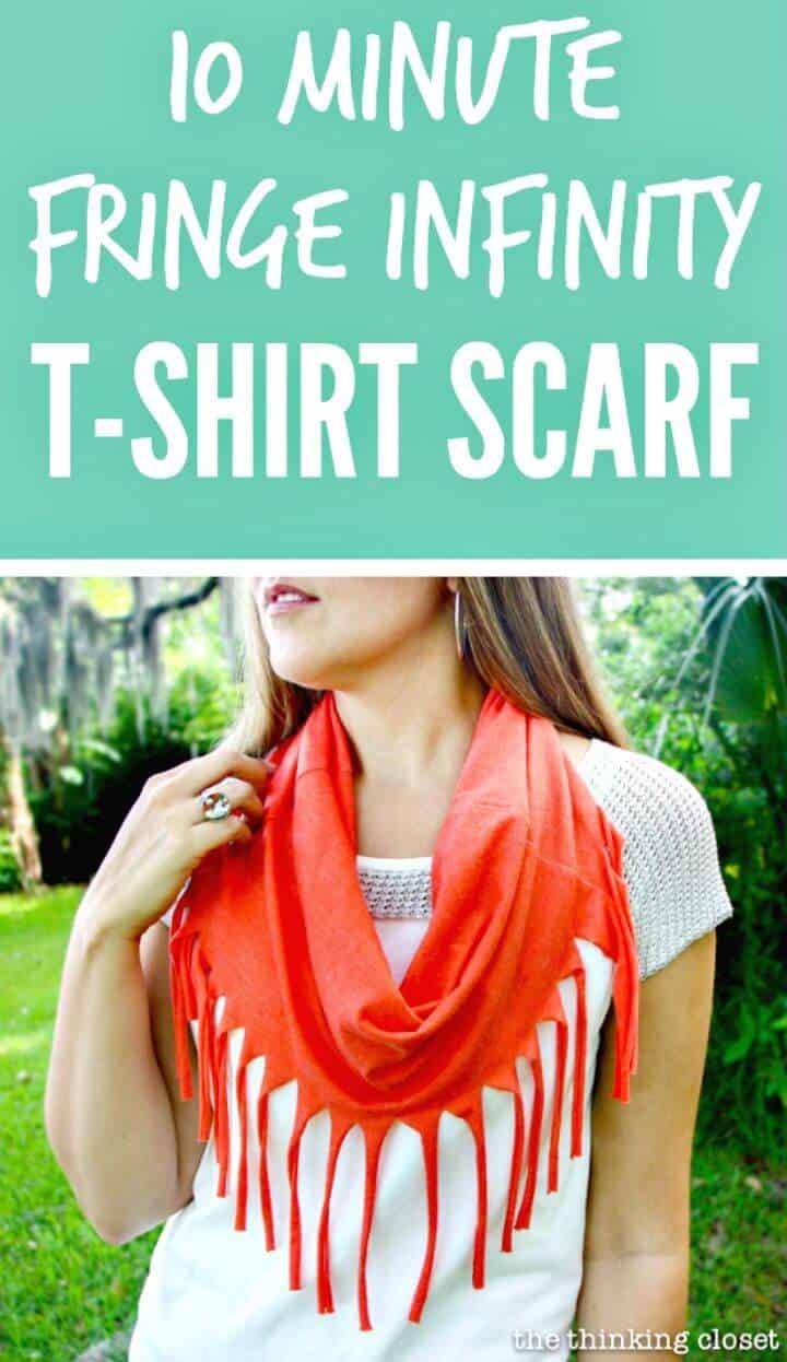 Bufanda de camiseta infinita con flecos de 10 minutos de bricolaje
