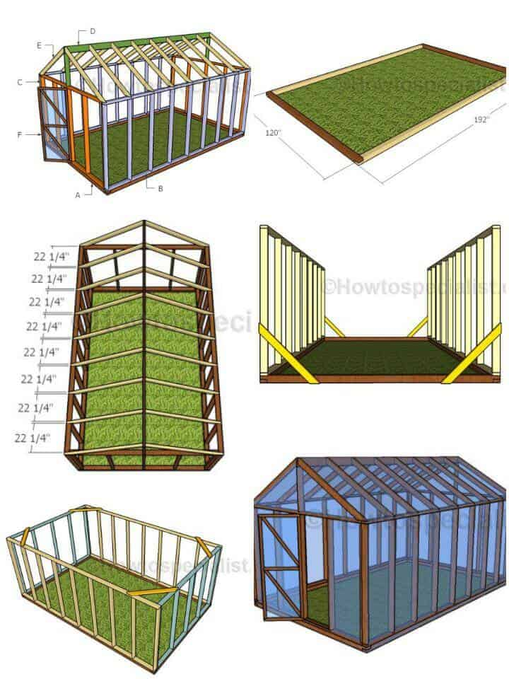 Planes de invernadero de bricolaje 10X16