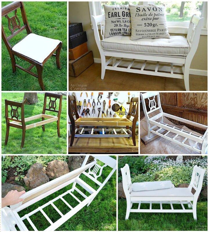 banco de estilo francés hecho de 2 sillas viejas