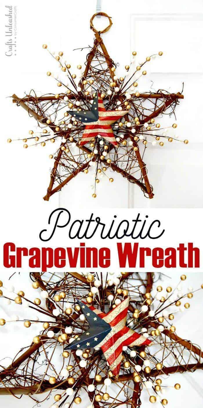 DIY 4 de julio DIY Grapevine Wreath