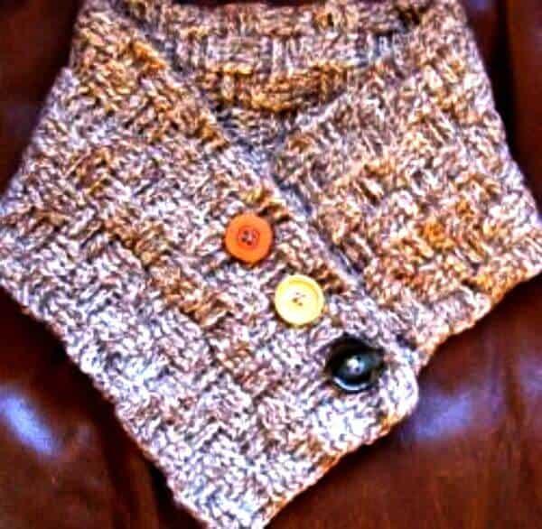 Patrón de calentador de cuello tejido de cesta de ganchillo gratis