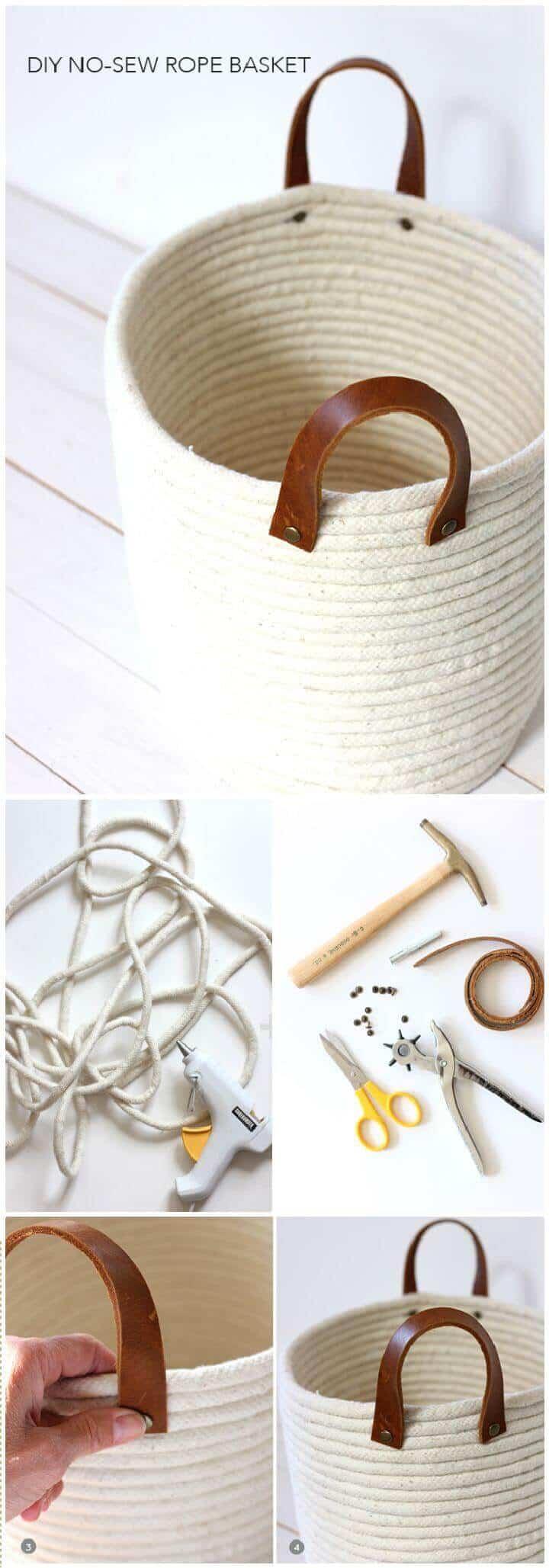 Haz una canasta de bobinas de cuerda sin costuras para hacer bricolaje