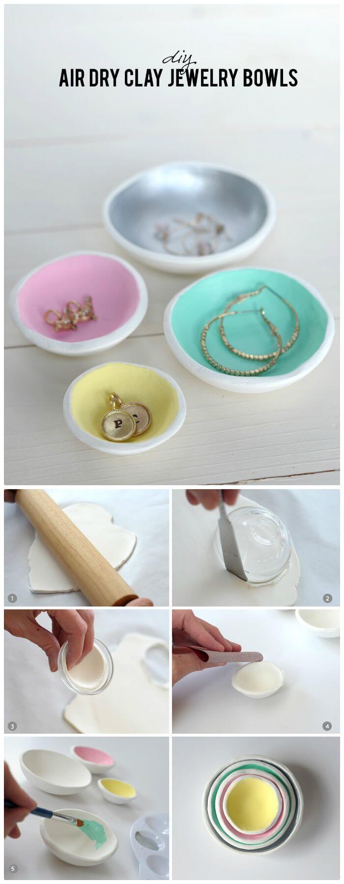 Cuencos de joyería de arcilla seca al aire DIY