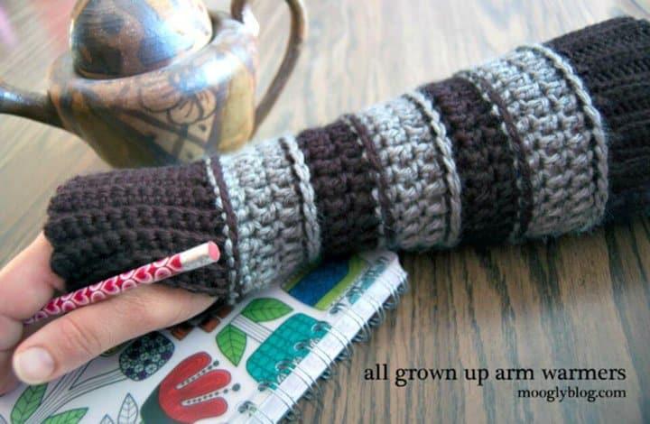 Calentadores de brazos para todos los adultos de bricolaje: patrón de ganchillo sin dedos gratis