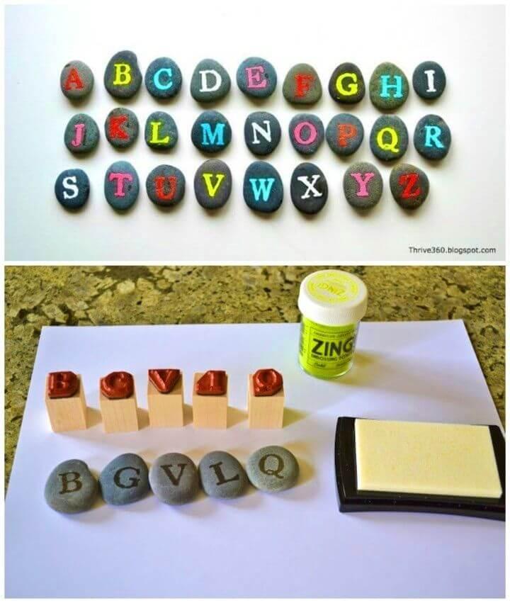Rocas pintadas del alfabeto de DIY, letras pintadas de la roca, arte de la roca pintado