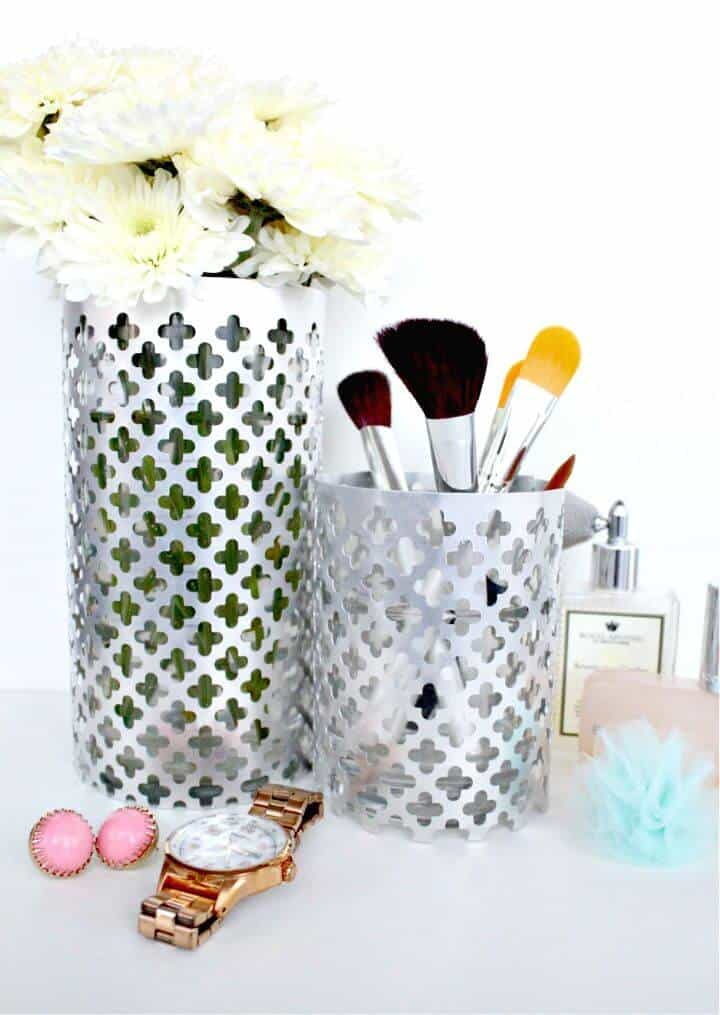 Soporte de cepillo de maquillaje de florero de aluminio de bricolaje