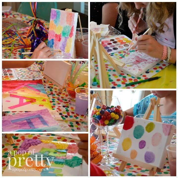 Fiesta temática de arte DIY para niñas adolescentes o preadolescentes