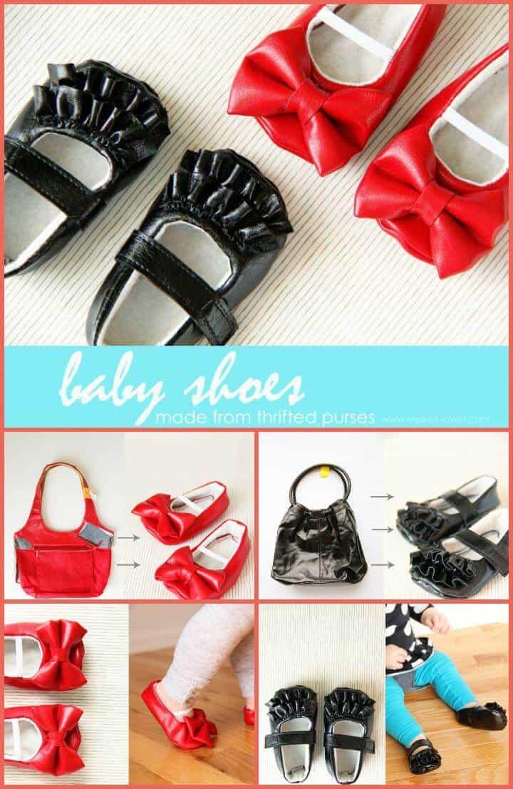zapatos de bebé hechos con bolsos viejos