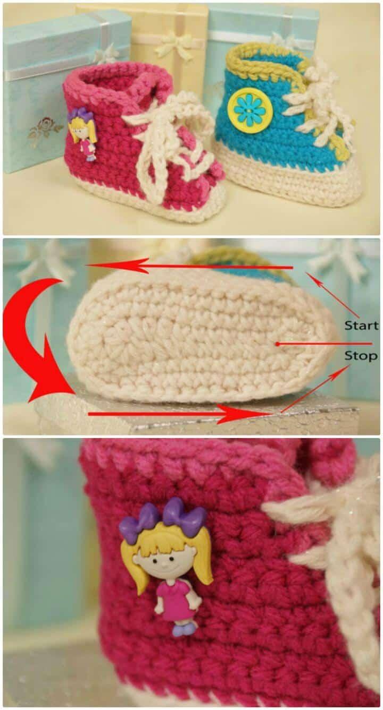 Patrón de ganchillo de botines de zapatilla de bebé gratis