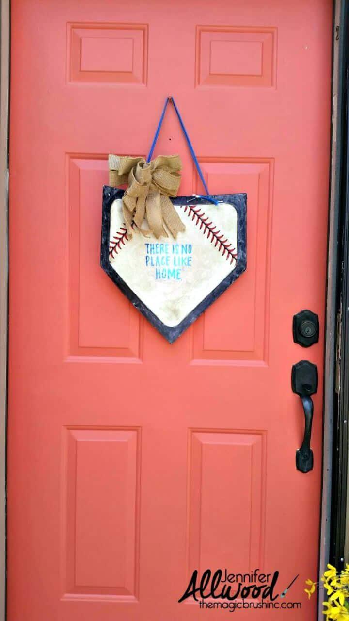 Decoración de la puerta delantera de la placa de inicio de béisbol de bricolaje