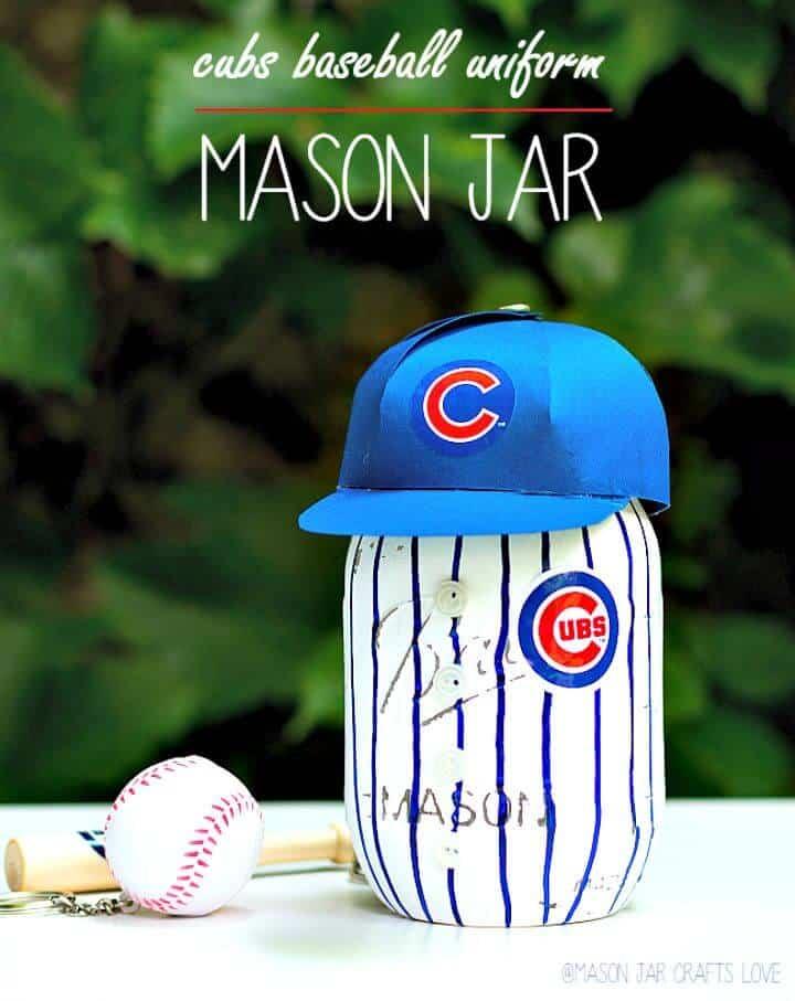 Tarro de masón de uniforme de béisbol de bricolaje - Proyectos de decoración del hogar