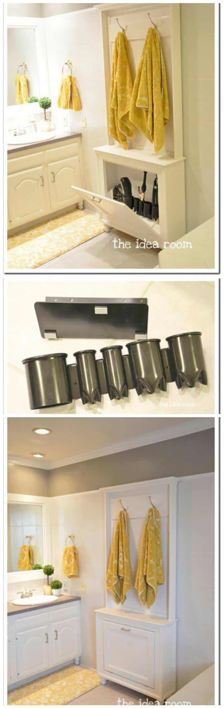 idea fácil de almacenamiento de herramientas para el cabello en el baño