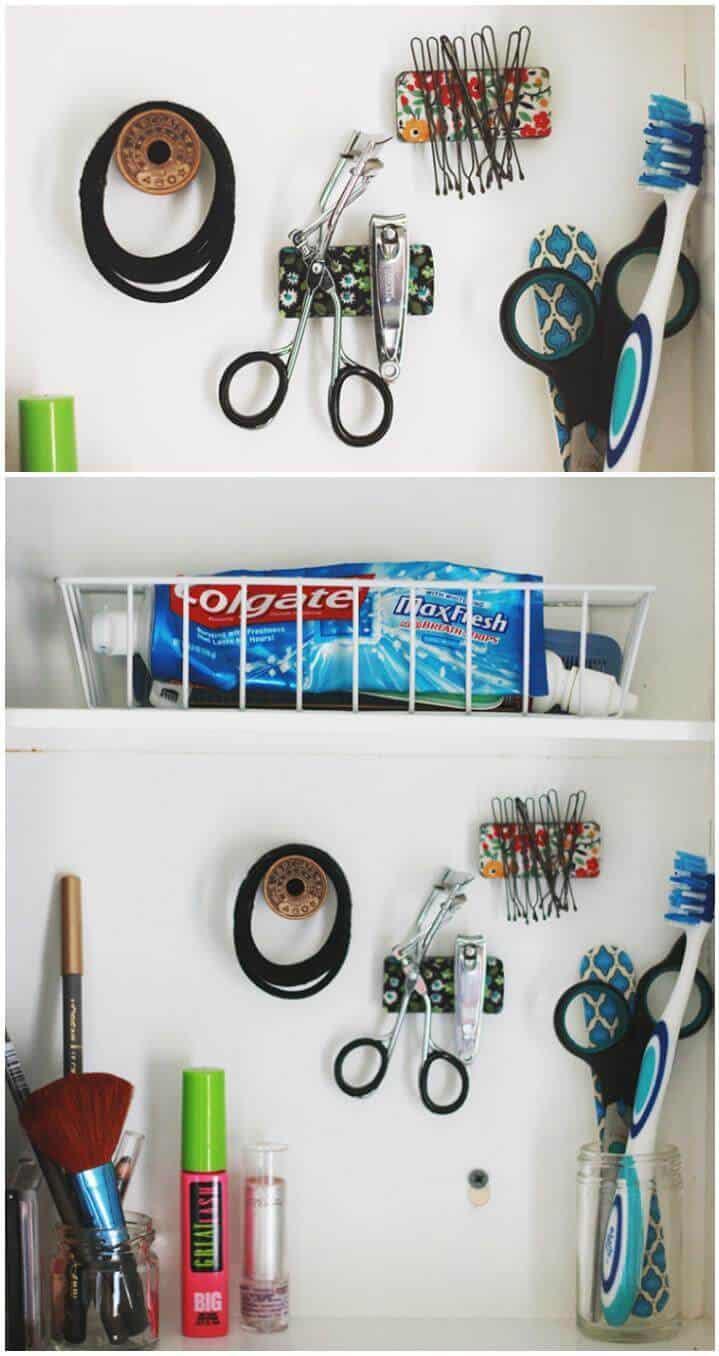 Organización del botiquín de baño de bricolaje