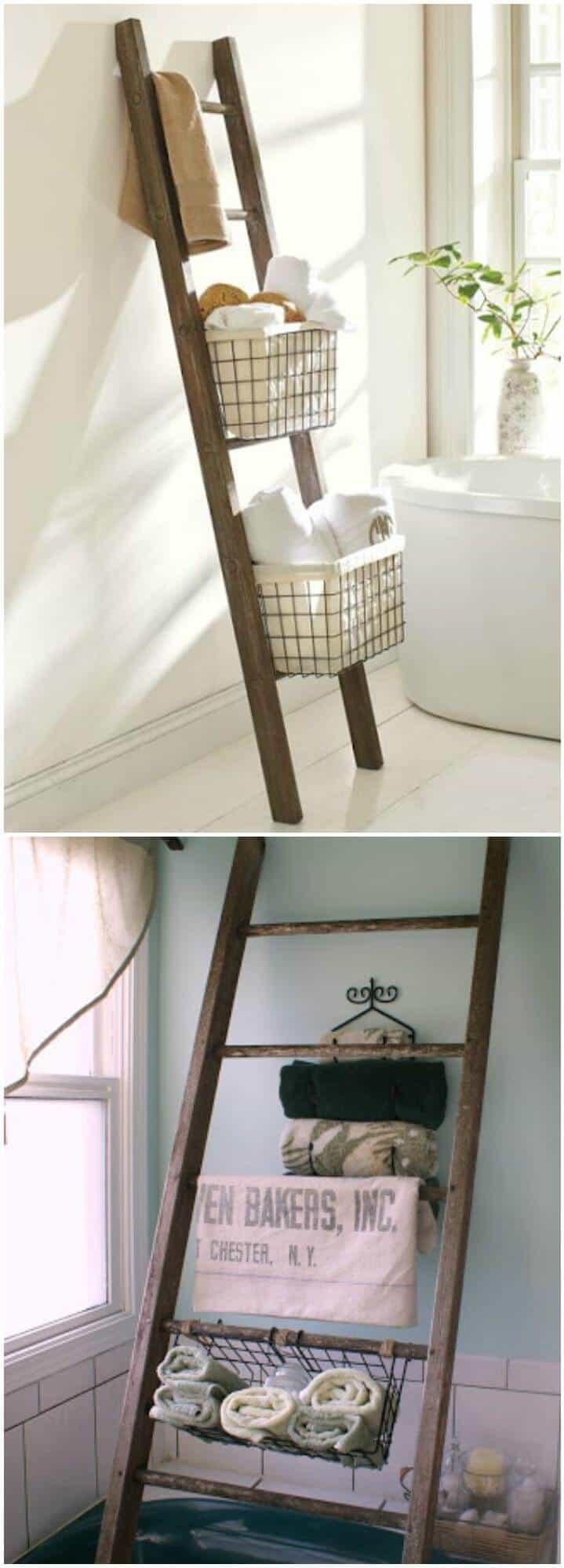 idea de almacenamiento de baño de escalera recuperada