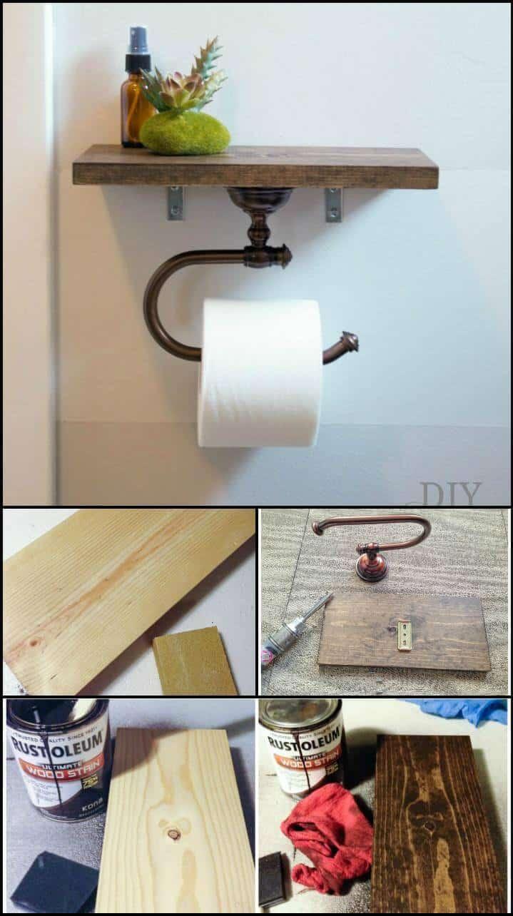 Portarrollos de papel higiénico de baño hecho a sí mismo con estante
