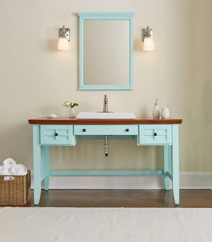 Tocador de baño de bricolaje desde un escritorio