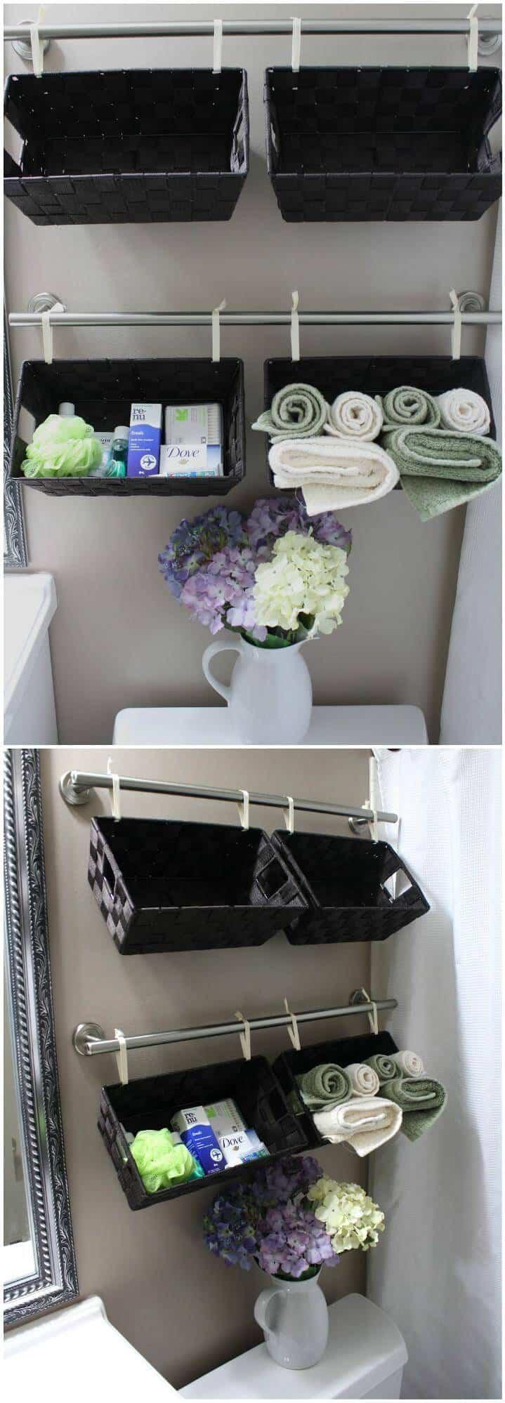 Cestas de almacenamiento para colgar en la pared del baño autoinstaladas