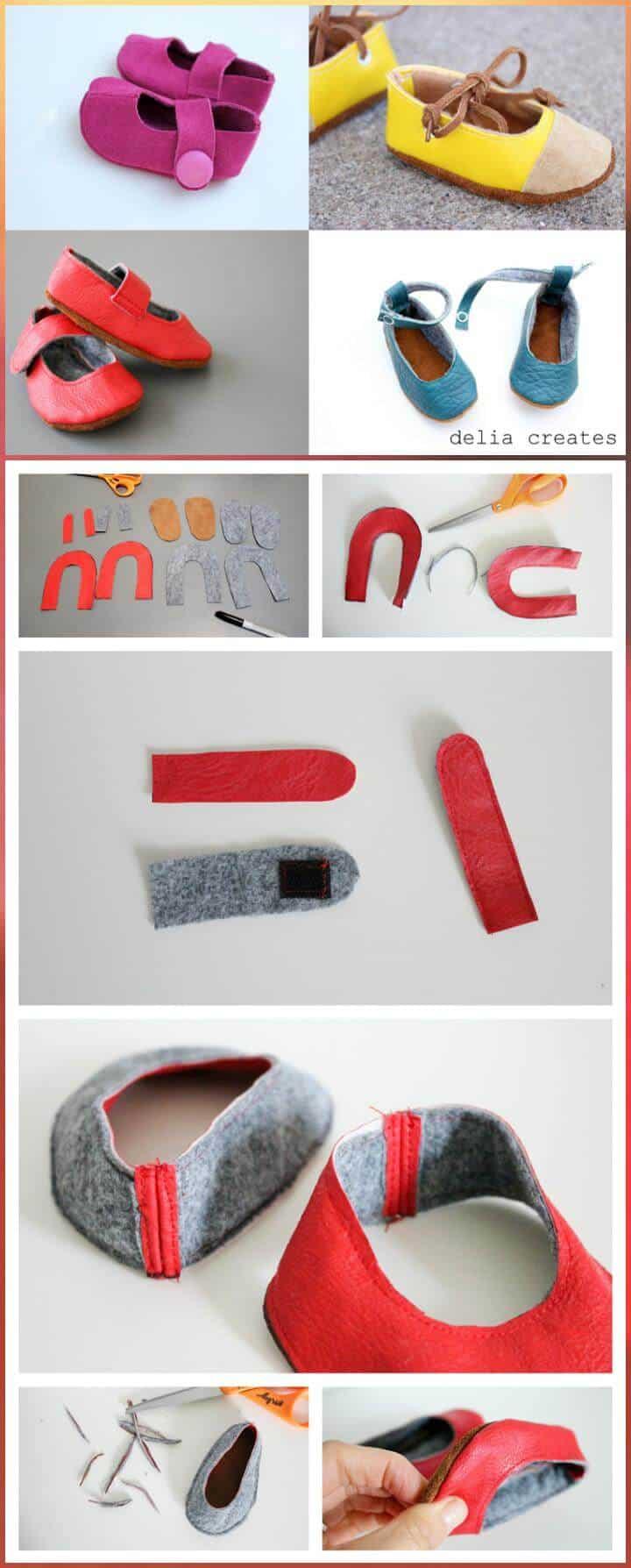 zapatos de bebé de cuero hechos a sí mismos