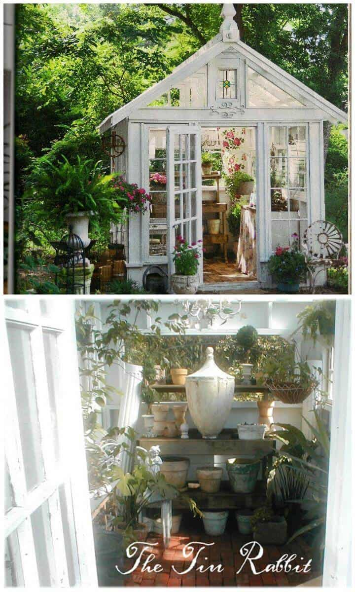 Bricolaje hermoso invernadero blanco