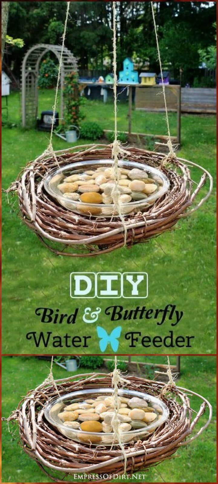 comedero de agua de abeja y mariposa de pájaro hecho a sí mismo