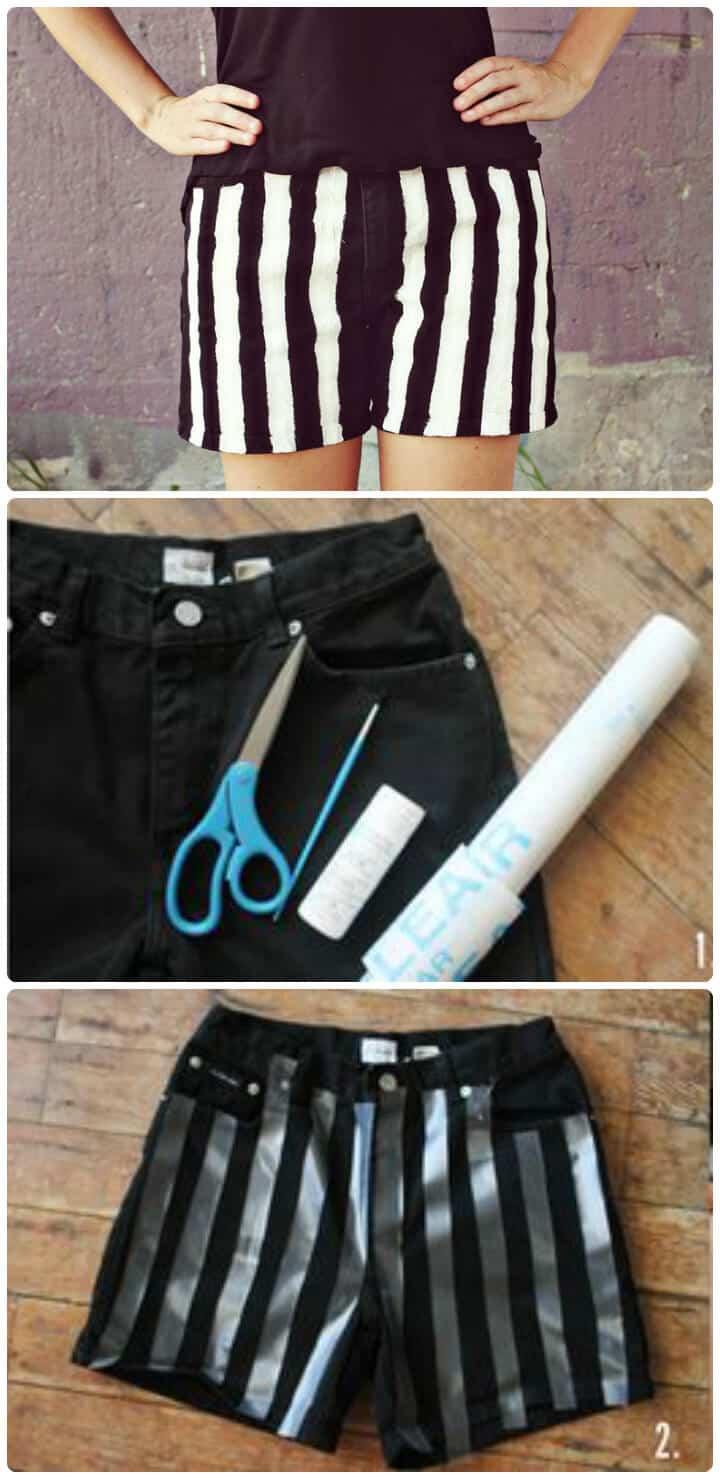 tiras en blanco y negro pantalones cortos de bricolaje