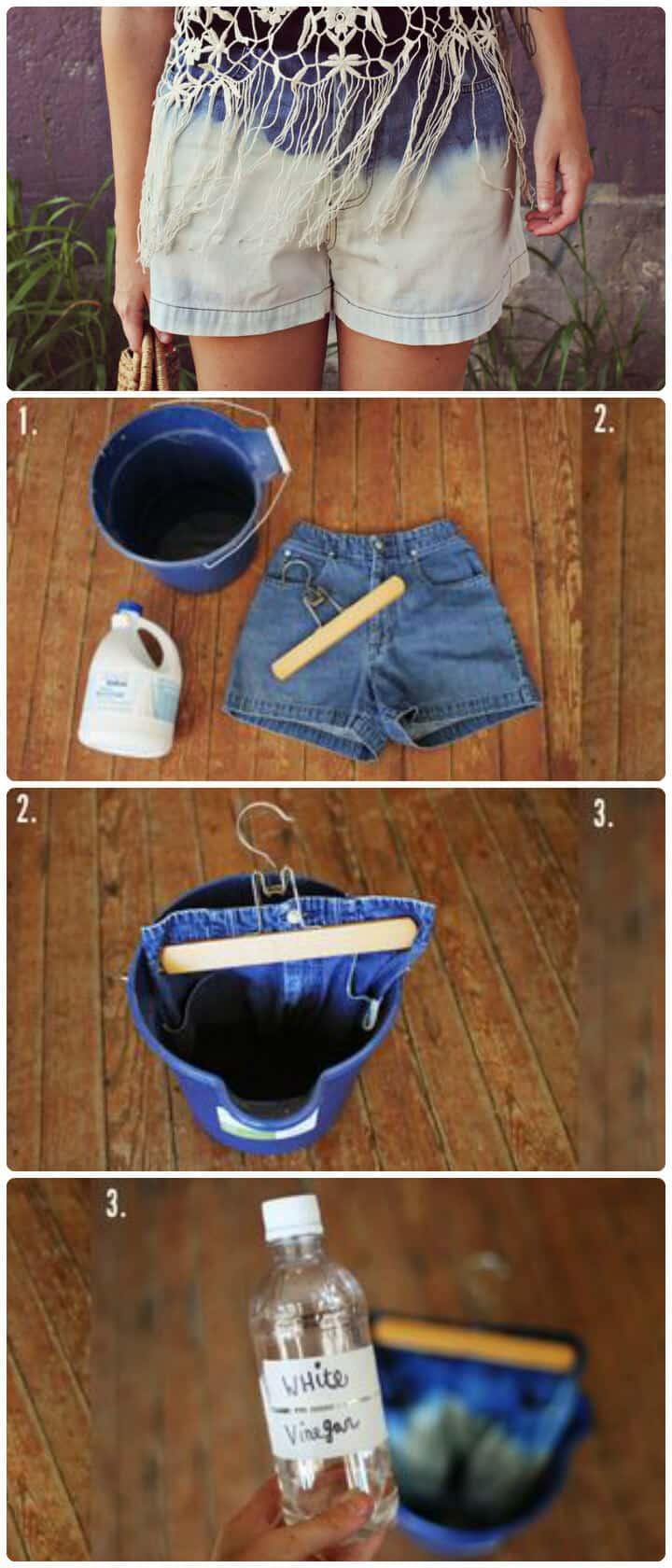 pantalones cortos de mezclilla con lejía DIY