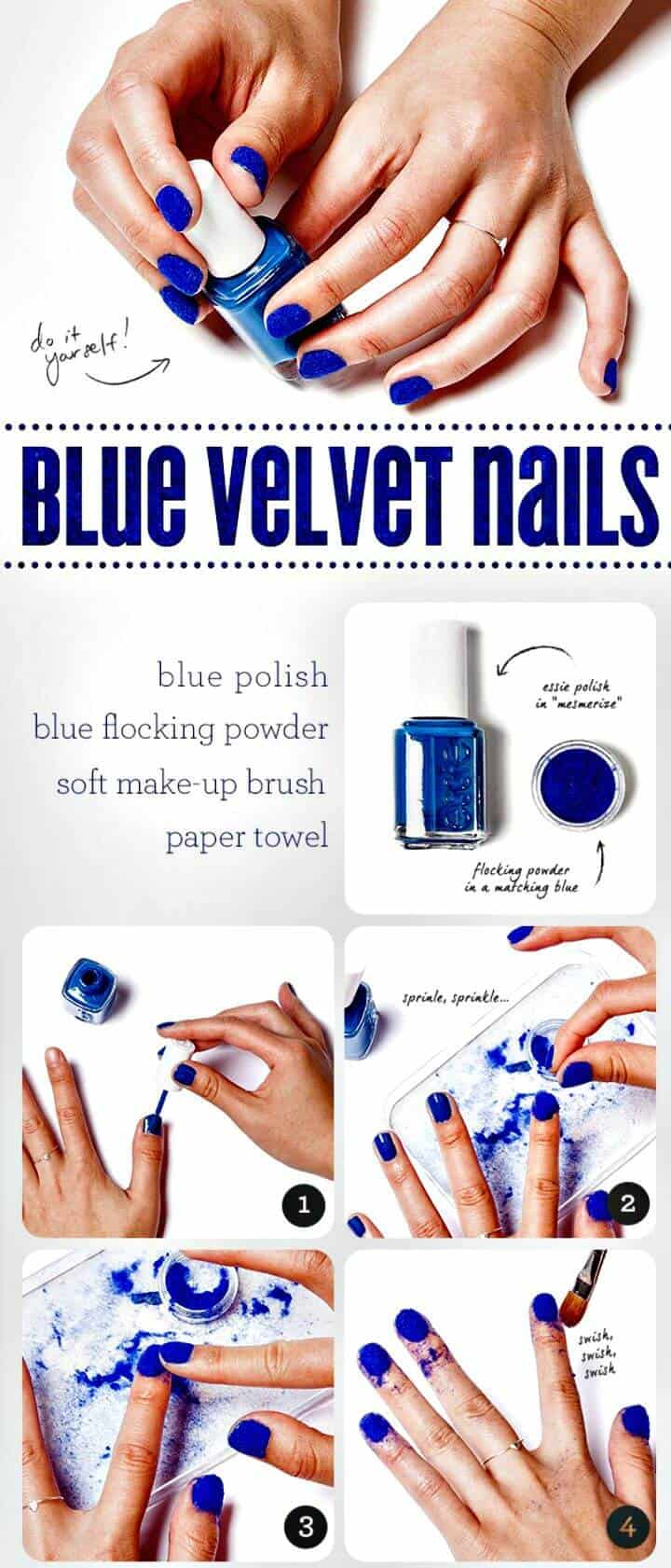 Fácil bricolaje de uñas de terciopelo azul - Tutorial de instrucciones fáciles