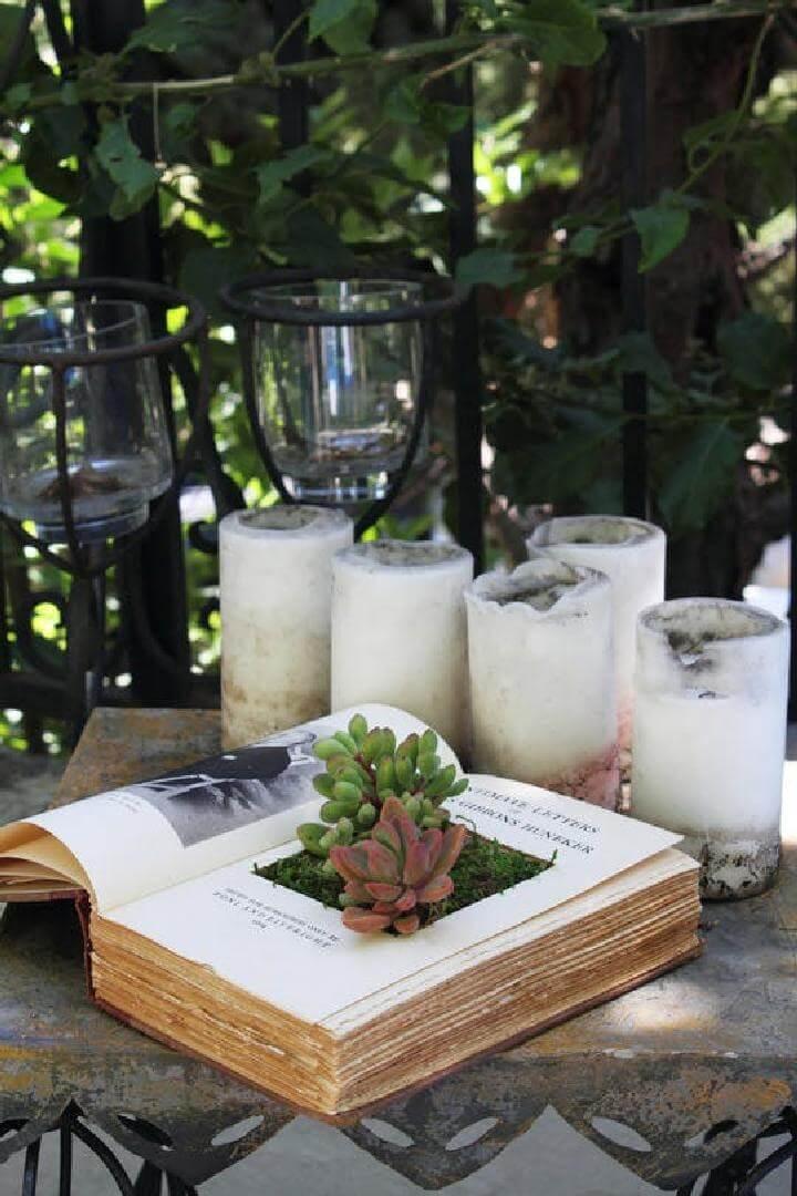 Jardinera suculenta de libro reutilizada