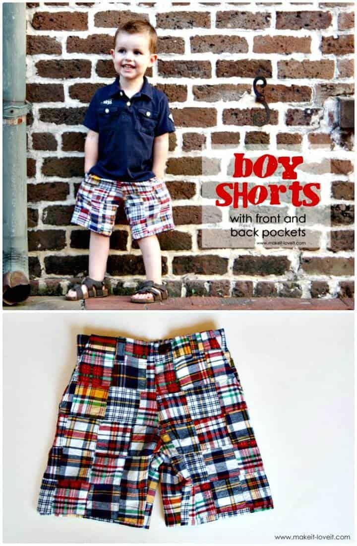 Pantalones cortos de bricolaje con bolsillos para niños