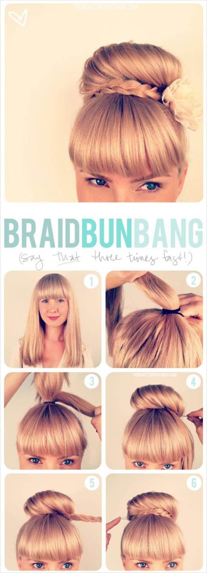 linda trenza updo bun bang peinado