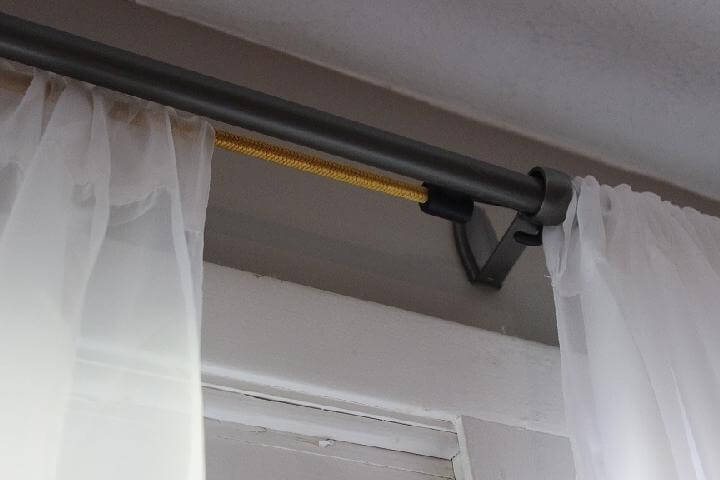Barra de cortina de cuerda elástica de bricolaje