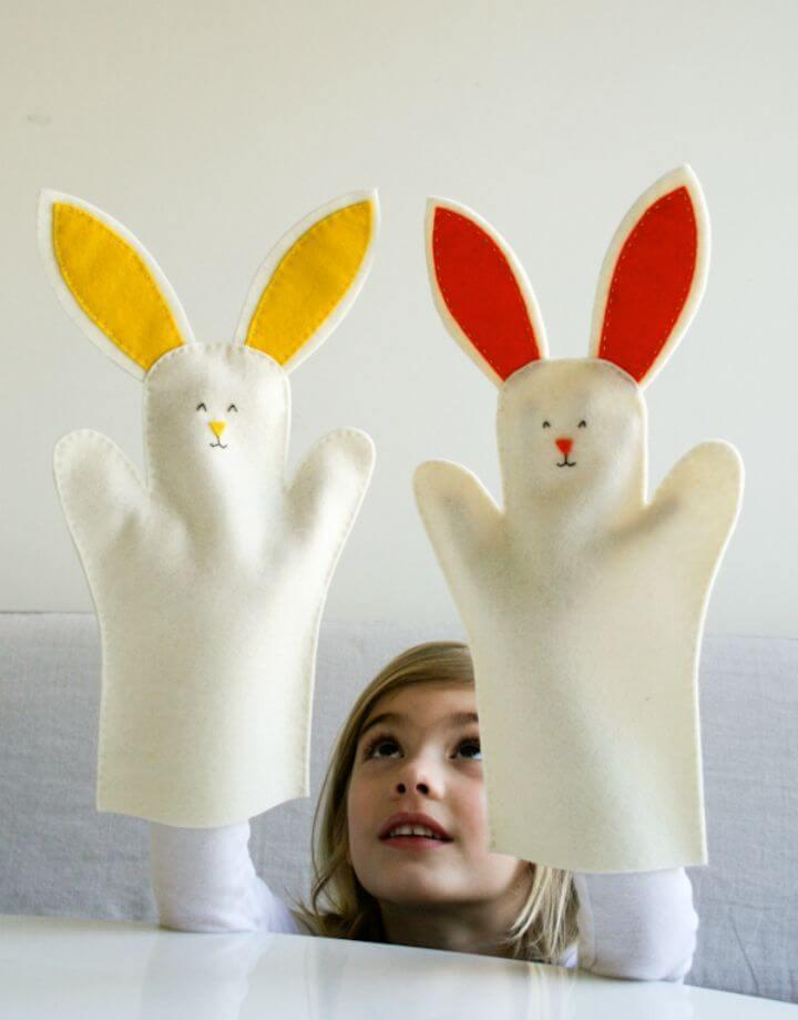 Adorables marionetas de mano de conejito de bricolaje