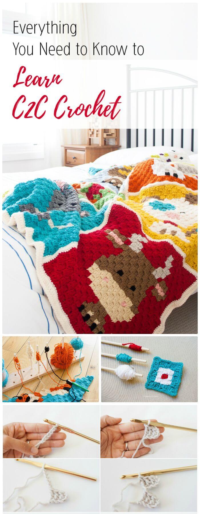 DIY C2C Crochet Todo lo que necesita saber, instrucciones para crochet c2c.