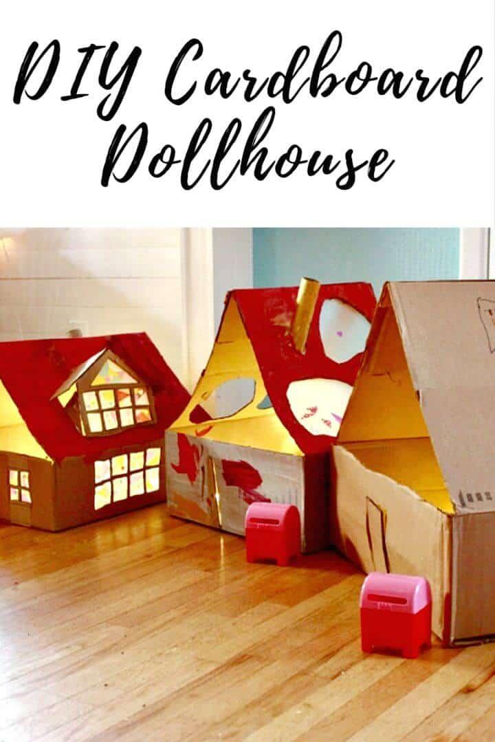 Casa de muñecas de cartón DIY con luces