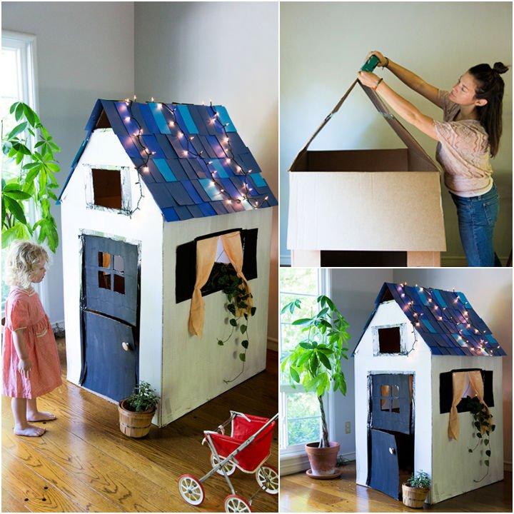 Casa de juegos de cartón de bricolaje de una caja