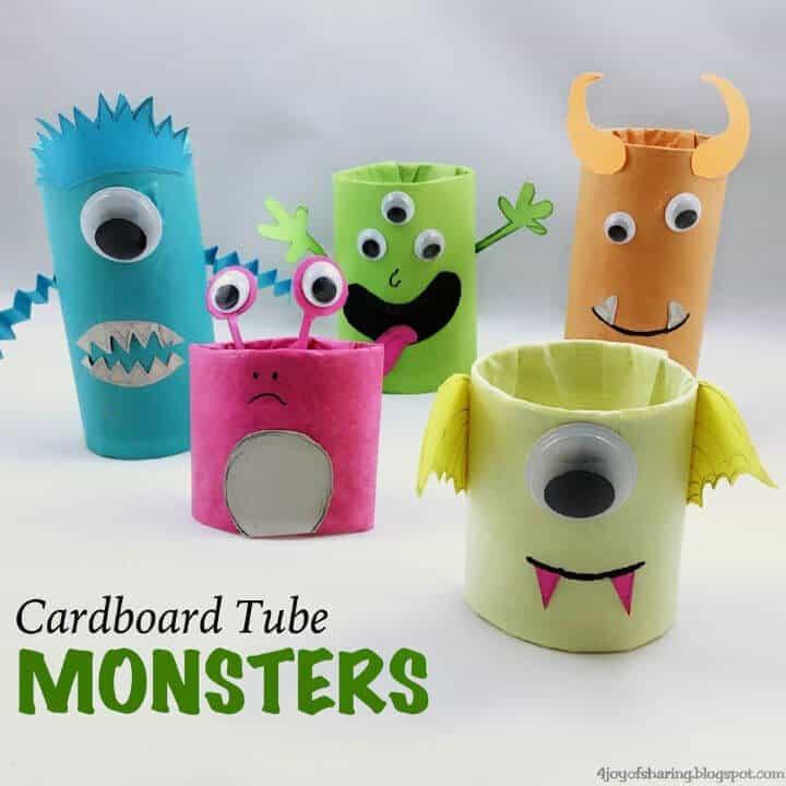 Manualidades de monstruos de tubo de cartón de bricolaje