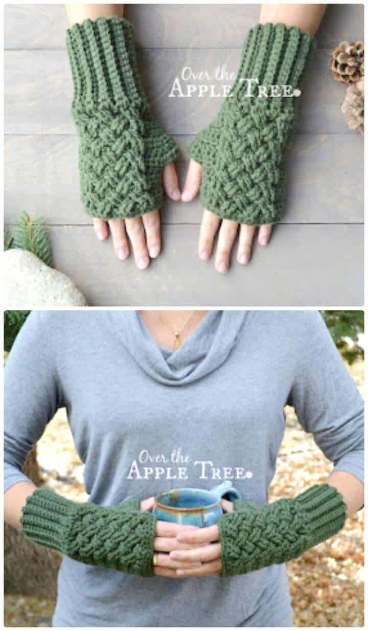 Patrón de guantes sin dedos de tejido celta de ganchillo fácil y gratis