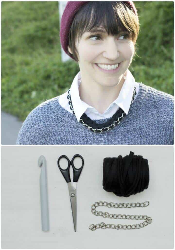 Cómo hacer un collar de cadena de ganchillo - Patrón gratuito con tutorial
