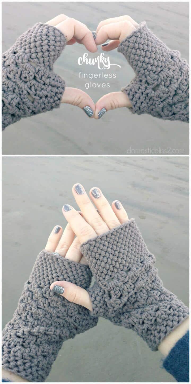 Patrón de guantes sin dedos gruesos de ganchillo gratis