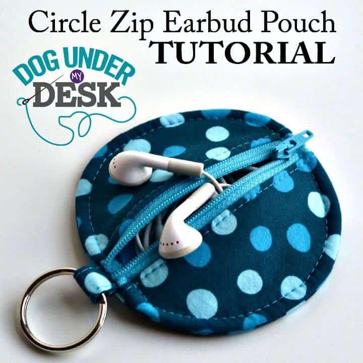 Estuche para auriculares con cremallera circular para bricolaje