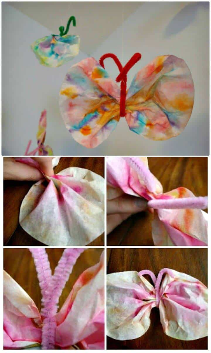 Mariposas sencillas con filtro de café DIY - Adorable Summer Craft