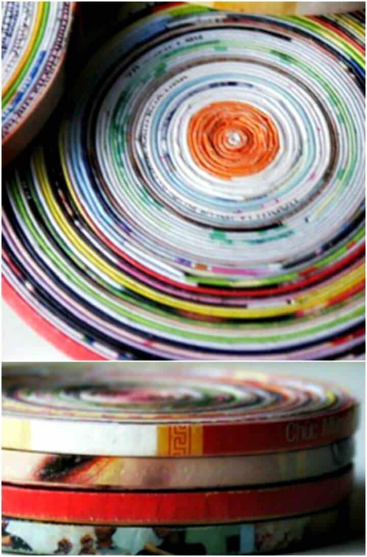 Tutorial de posavasos de página de revista enrollada de bricolaje